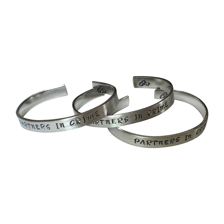 "3 Piece Set - Partners In Crime Hand Stamped 1/4"" Aluminum Cuff Bracelet"