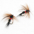 10 PCS 10 peacock feather gray head and black tailed fly trout fly baits free