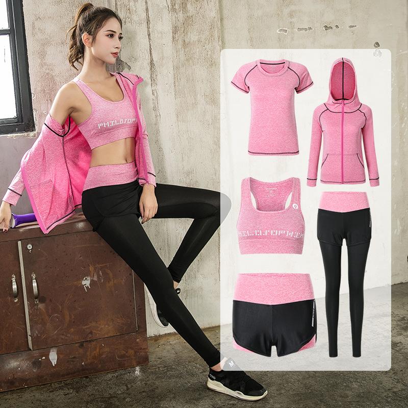 Wholesale fashion comfortable breathable Women Sport Wear 5 Pieces Yoga Set Girls