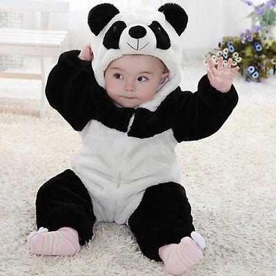 c82d2555960f Baby Kid Toddler Newborn Boy Panda Animal Onesie Hooded Zipper Romper  Jumpsuit Outfit Costume 0-3Y