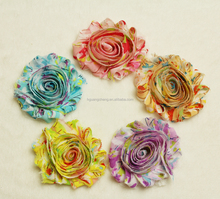 Hot sell shabby chiffon rose flower trim,chiffon hair flowers,chiffon flower headband wholesale