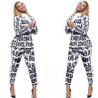 2019 women clothing hip hop letter print top with slim pants blazer suit 2 piece outfit two piece set