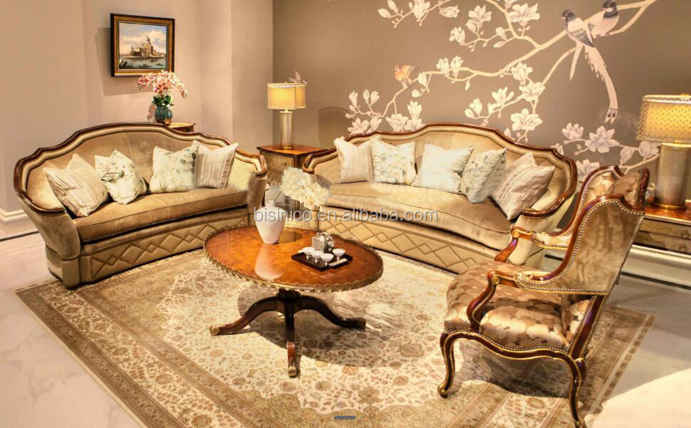 Graceful Victorian Design Elegant European Style Tufted Hand Made Sofa Set For Home Living Room Furniture BF08-YS012