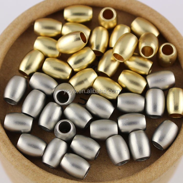 JS1212 High Quality Matte Metal Gold Silver Drum Rice Spacer Beads,Dull Polish Matt Beads