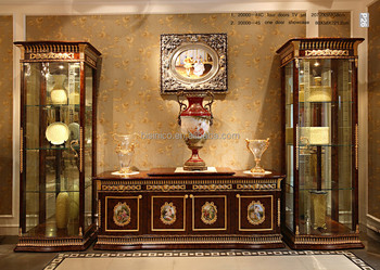 Luxury French Baroque Style Mahogany Single Door Display Cabinet With TV  Cabinet/ Classic Living Room