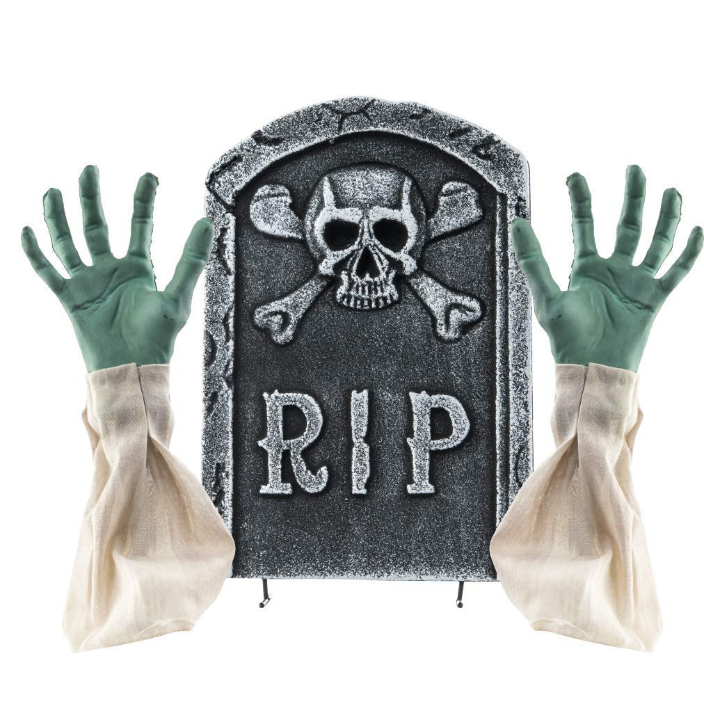 2 in 1 Spooky Halloween Graveyard Decorations Tombstone with Zombie Hands & Arms
