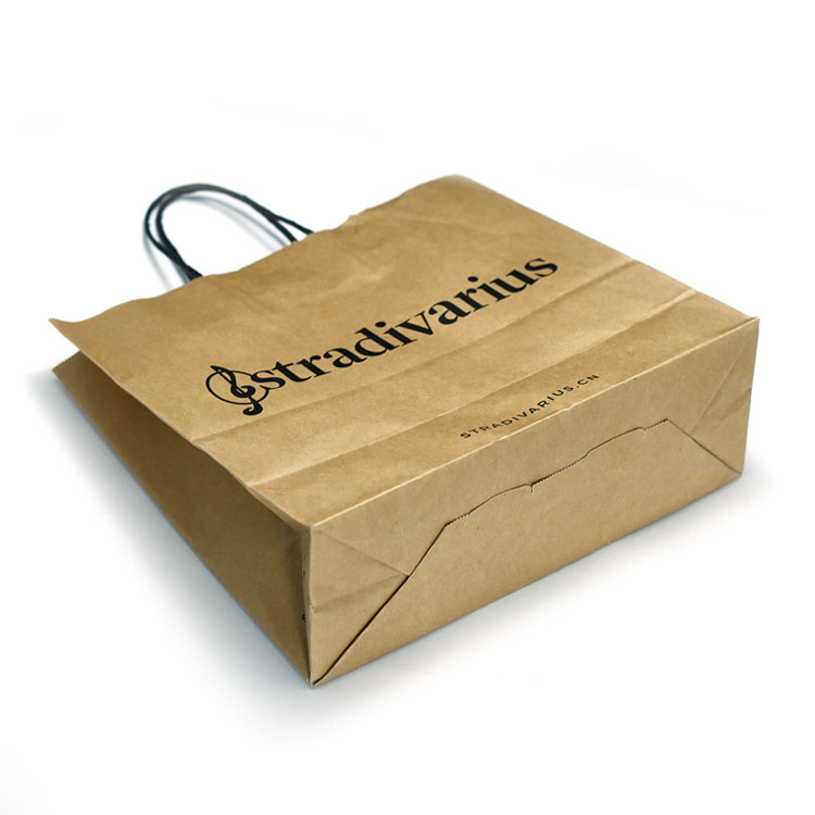 Custom logo Printed Brown Kraft Paper Color Shopping Bag with twist paper handle