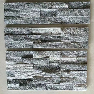 Split Face Panel Ledger Natural Grey Granite Stacked Stone Veneer Wall Panels