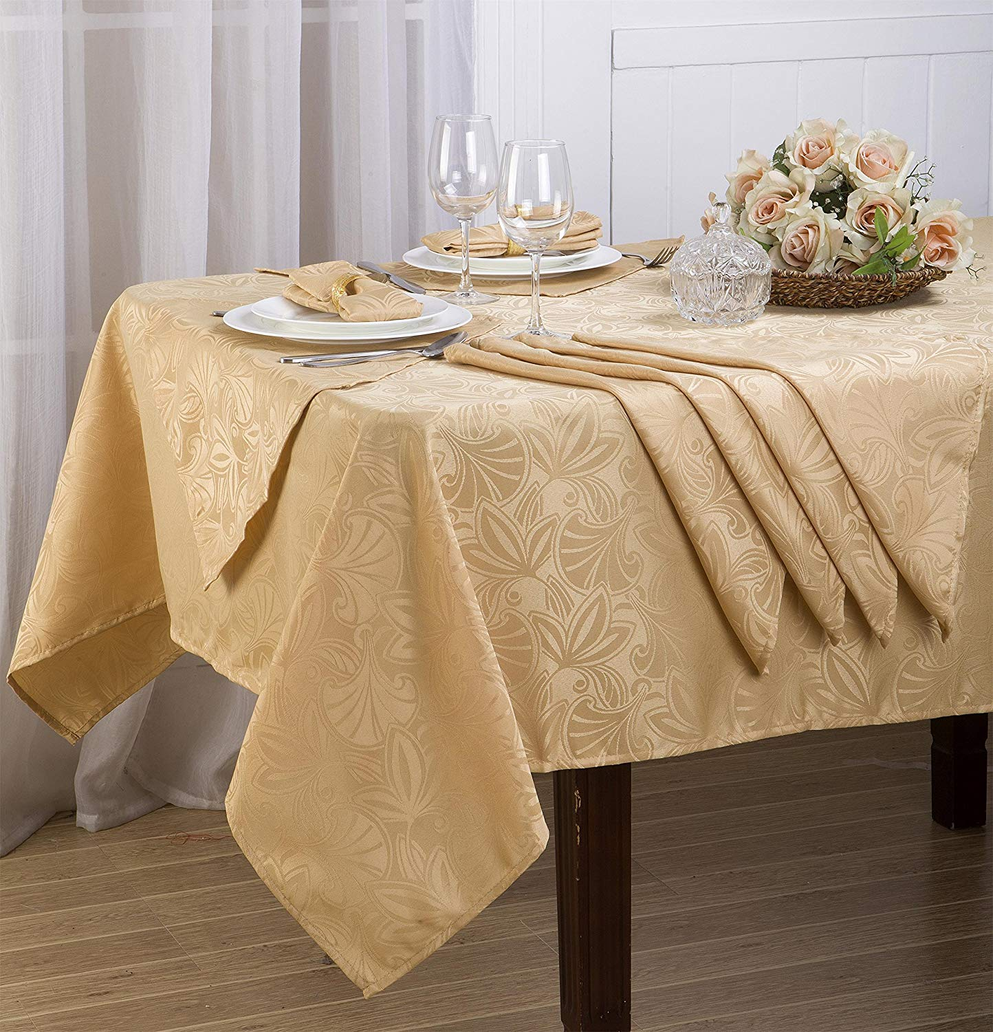 prodigious Cheap Table Cover Ideas Part - 10: Get Quotations · Royal Bedding Elaine Table Cloth Set, Luxury and Elegant Table  Cloth Set with Napkins,