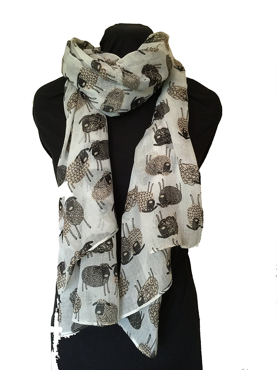 Pamper Yourself Now Women's Sketched Sheep Design Long Scarf