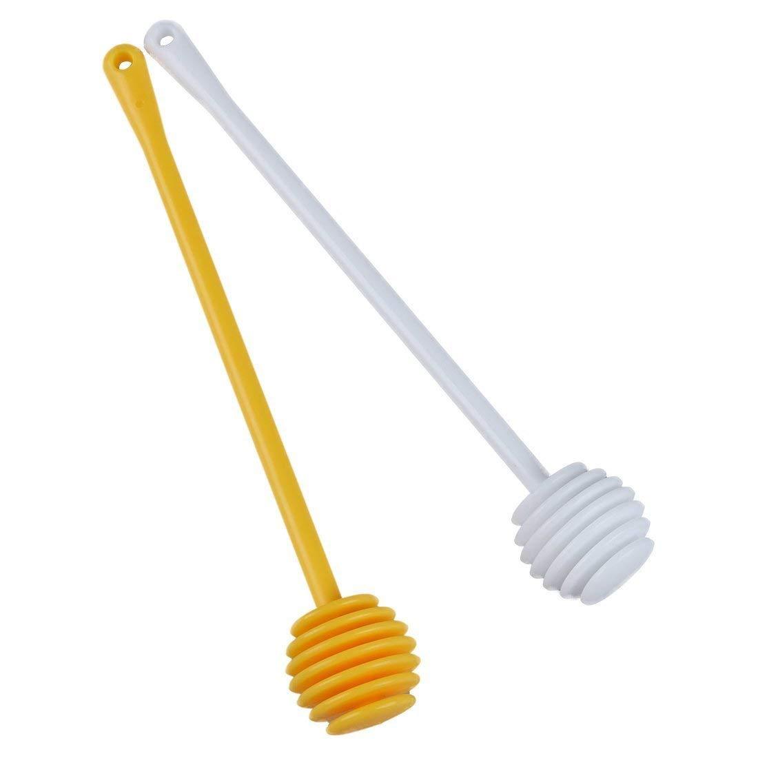 LUQUAN 2Pcs Honey Dipper Jam Stir Sticks Long Handle Yellow + White