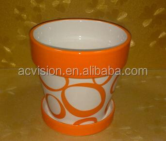 Orange Ceramic Flower Pots Vintage Style Pot Orchid Product On