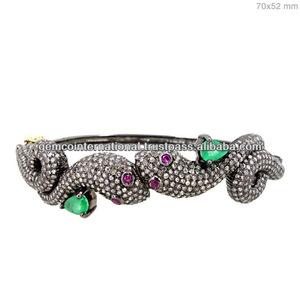 Pulsera de Serpientes con Piedras Preciosas Incrustadas Pulsera de Serpiente con Esmeraldas Brazalete con Diamantes Naturales