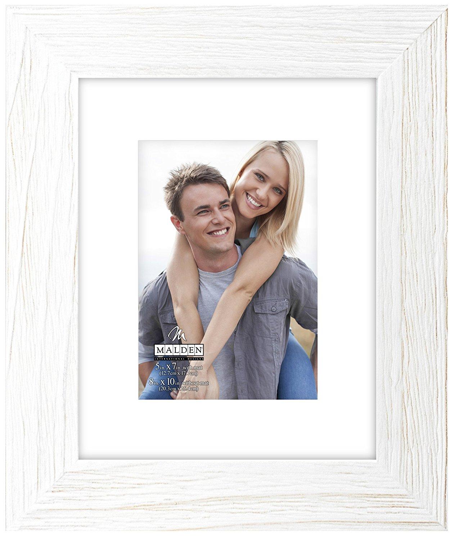 Malden International Designs Manhattan Rough Rustic Fashion Wood White Mat Picture Frame, 5x7/8x10, White