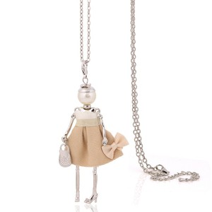 handmade doll necklaces long chain pendants 2017 alloy new cute girls women accessories necklace