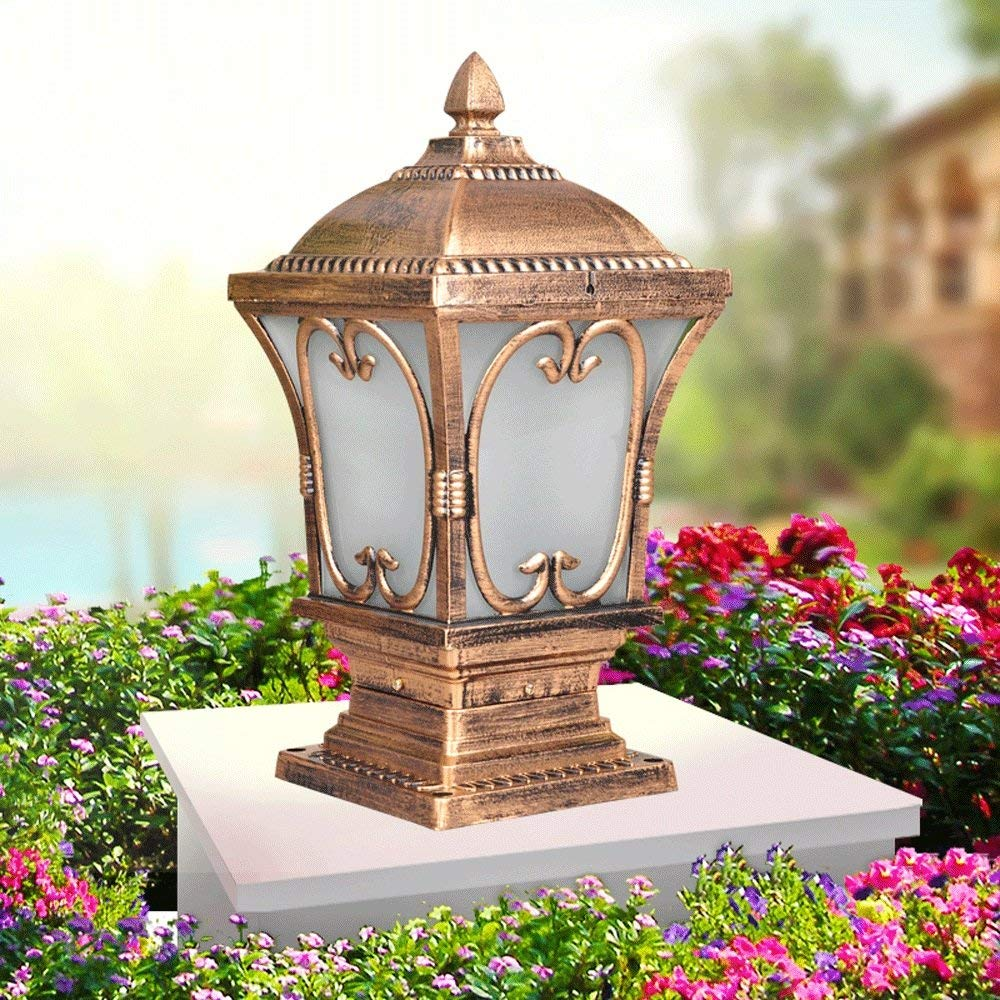 Modeen Continental Vintage 1-Light Victoria Glass Lantern Column Lamp Tradition Antique Outdoor Waterproof Table Lamp Garden Lamp Street Post Light E27 Decoration Illumination for Villa Patio Post