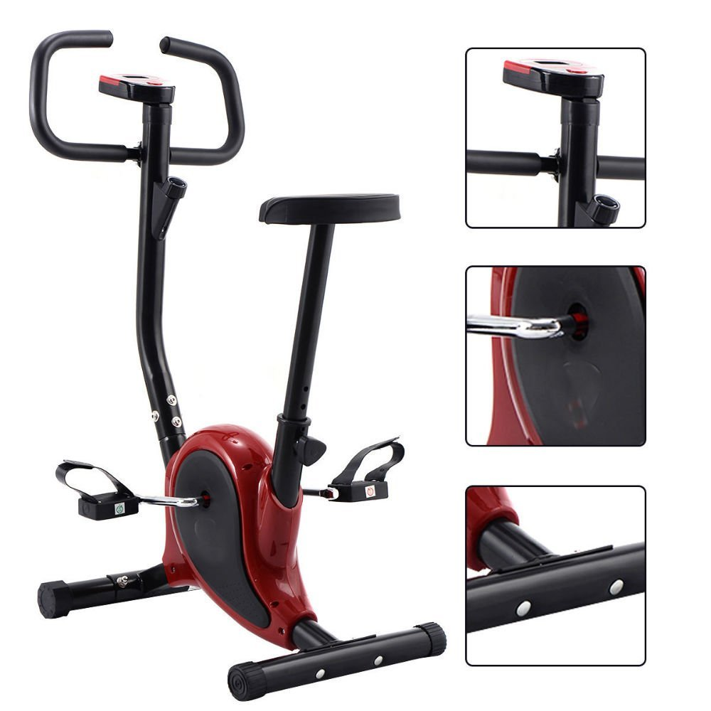 04cb5983dee Get Quotations · Exercise Bike Stationary Cycling Fitness Cardio Aerobic  Equipment Gym Red