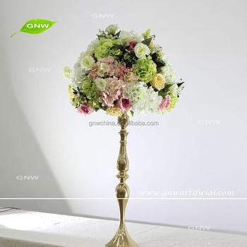 Gmw Silk Flower Foam Ball Wedding Metal Tall Table Centerpieces For