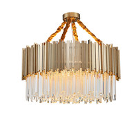 France Art Decor Modern Metal Gold Pendant Lamp Luxury Crystal Chandeliers Decorative Lighting Fixture
