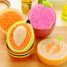 Korean Creative Fruit Thick Sponge Cloth Strong Decontamination Washing Cloth Washing Towel Non Stick Oil Sponge Kitchen items