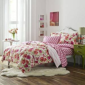 OS 3 Piece Full Queen Pink Camo Comforter Set, Reversible Bedding, French Country, Floral, Graphic, Stripe Pattern, Light Pink, Orange, Damask Flower Paisley Medallion Hippie Bohemian Kashmir