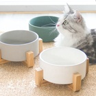 Ceramic Cat Bowl Pet Food Water Bowl With Bamboo Rack Easy Clean