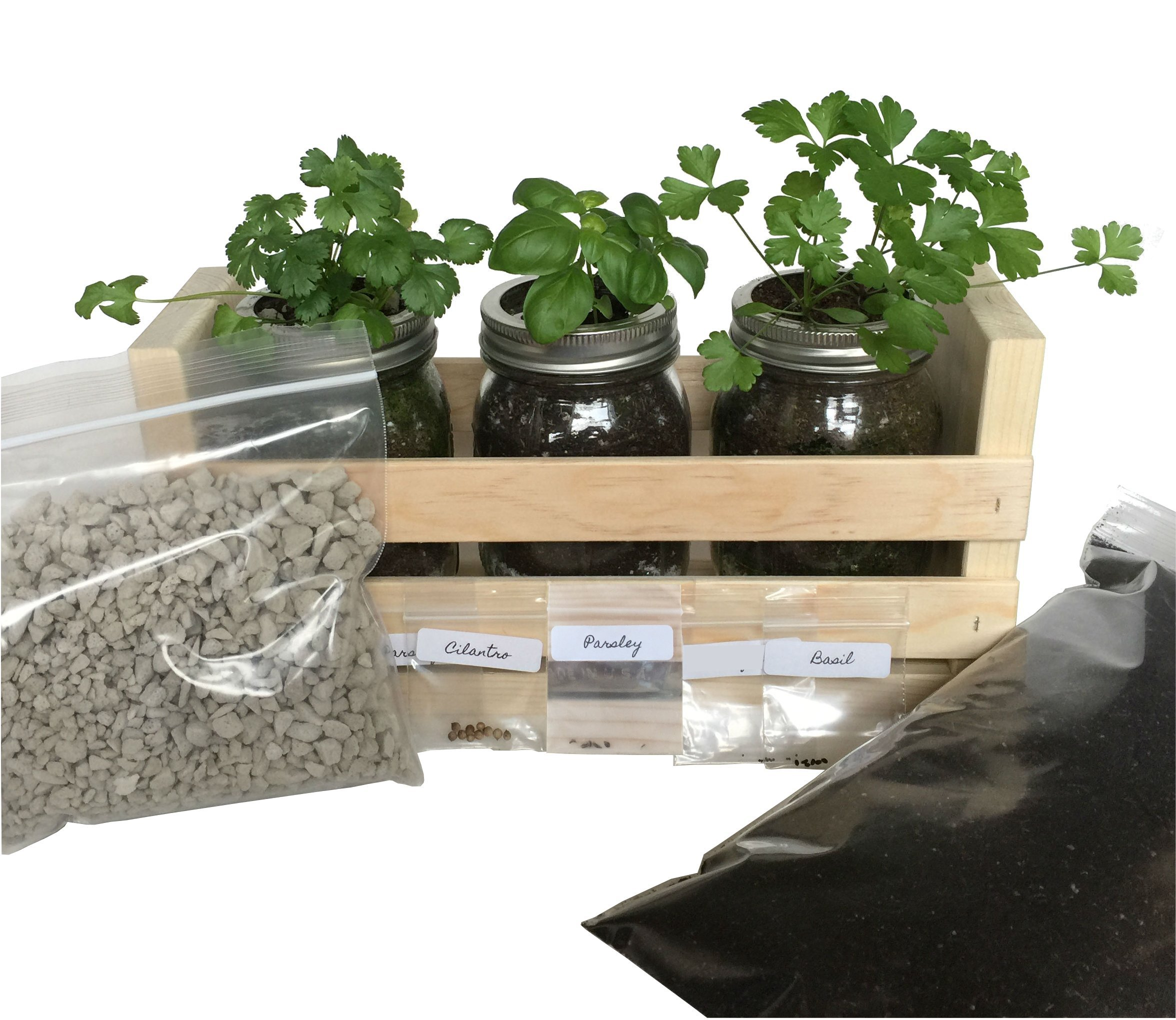 Indoor Herb Garden Kit -Great for Growing an Indoor Herb Garden -100% Satisfaction Guaranteed, Includes Everything You Need to Grow a Herb Garden (Cilantro,Basil,Parsley) in a Simple Container