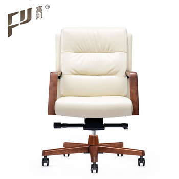 Foshan Clic Low Back Leather Secretary Office Chair With Wood Base