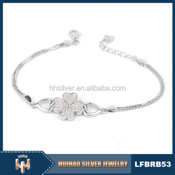 Cheap Price New Model India Pure 925 Vintage Silver Bracelet With Cz