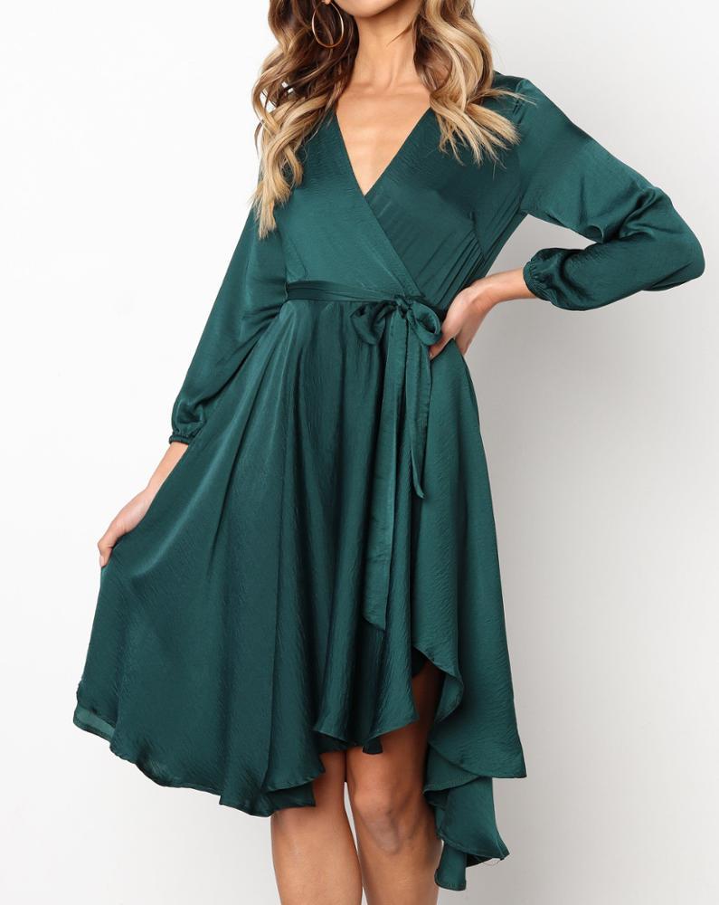 Bulk wholesale spandex fashion latest design long sleeve deep v casual women dresses with belt фото