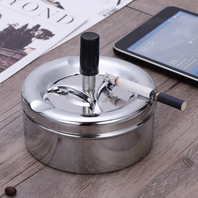 Round Metal Push Down Tin Ashtray With Spinning Tary Lid