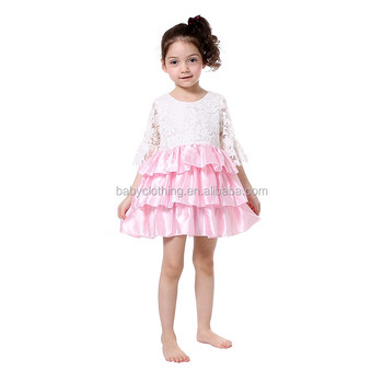 sweet girls party dress white lace flare sleeve satin ruffle kids princess dresses