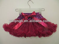 High quality Gorgeous Wine red chiffon Fluffy pettiskirt tutu for Girls party skirt for kids wholesale baby girls petticoat
