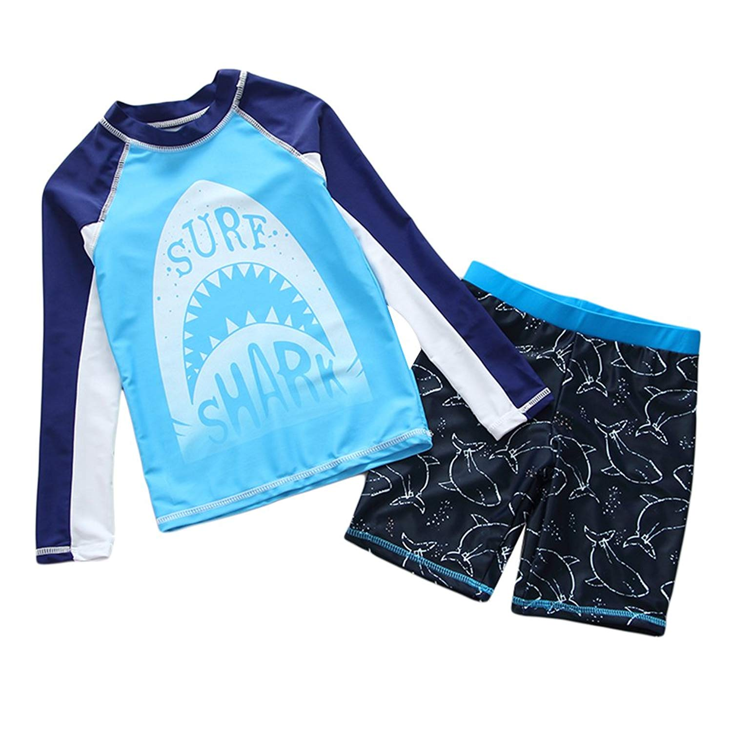 98e0a78e14 Get Quotations · Collager Toddler Boys Two Piece Cute Swimsuit Kids UV Sun  Protective Long Sleeve Bathing Suit Surfing