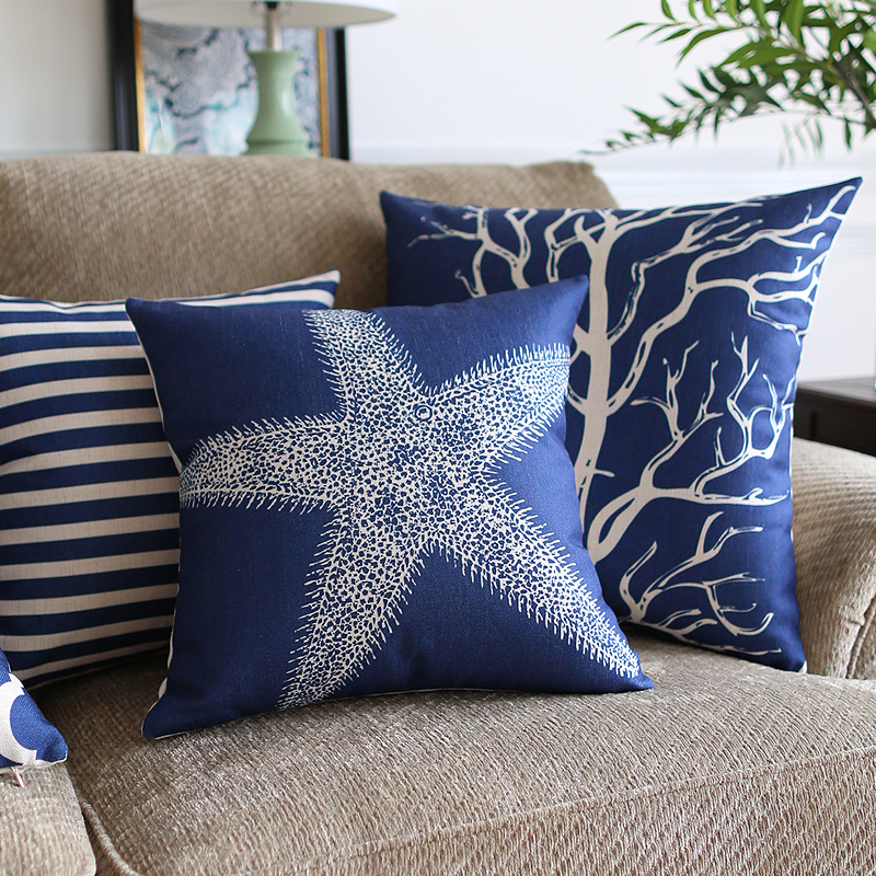Free shipping creative fashion Cushions For Sofas Blue Mediterranean style Sofa   Cushion soft cozy Cushions Home Decor