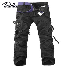 Taddlee Brand Europe Mens Fashion Multi Pocket Cargo Pants Khaki Military Casual Cotton Loose Baggy Sport Outdoor Long Trousers
