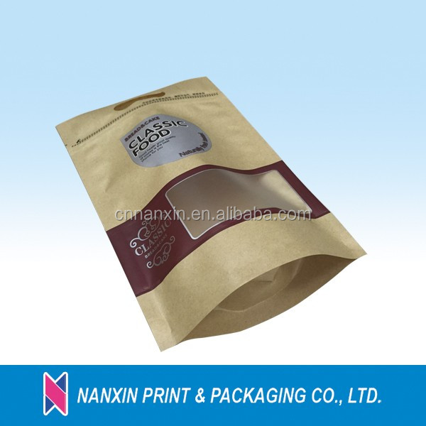 Light proof kraft paper pouch packing bag for nuts with clear window