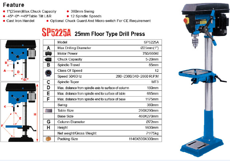 25m Universal Industrial Pillar Drill Press Machine For Metal Steel And  Wood Core Drilling Sp5225b - Buy Universal Drill Press,Core Drilling