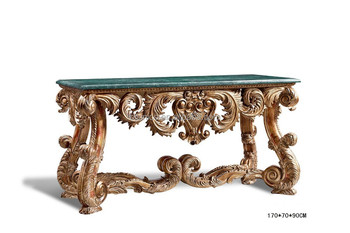 Antique Luxury Console Table, Console Hall Foyer Table With Marble Top,  Bisini Home Decorative