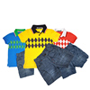 Top 100 Child Model Bright Color Yellow Pique Customize your logo Graphic Printing Jeans Pants And Shirt