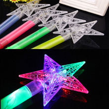 LED Flashing Stick Children Girls Fairy Magic Wand Sticks Light up Five-pointed Star Princess Party Prop Glow Wand