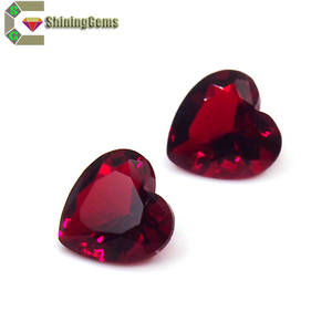 Synthetic stone heart cut red large glass gemstone for jewelry