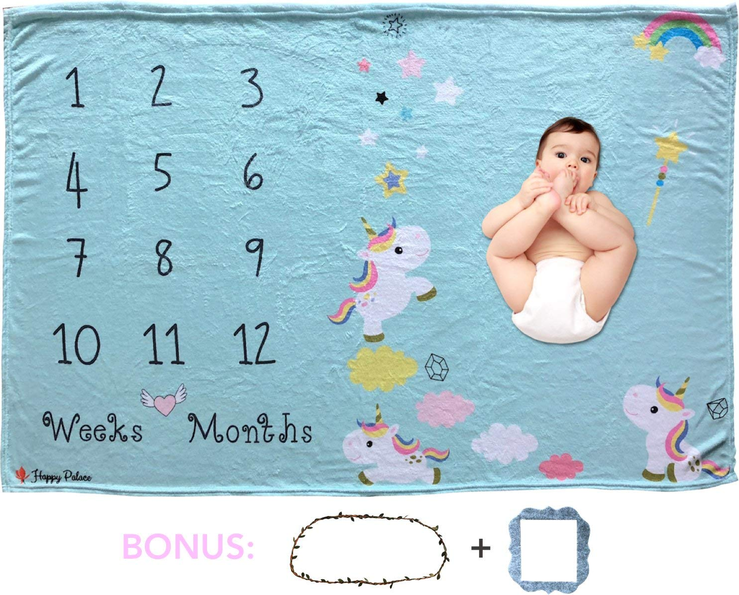 "Happy Palace Adorable Weekly Monthly Baby Milestone Blanket (Floral Wreath and Frame Included) | Cute Photo Backdrop and Prop for Newborn Boy and Girl, for New Mom | Premium Fleece Large 60""x40"""