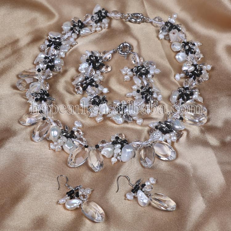 baratas para descuento 7c501 ae2fe Bisuteria de novia set, nuevo diseño mujeres de la joyería verdadera perla  joyas pulsera collar con aretes