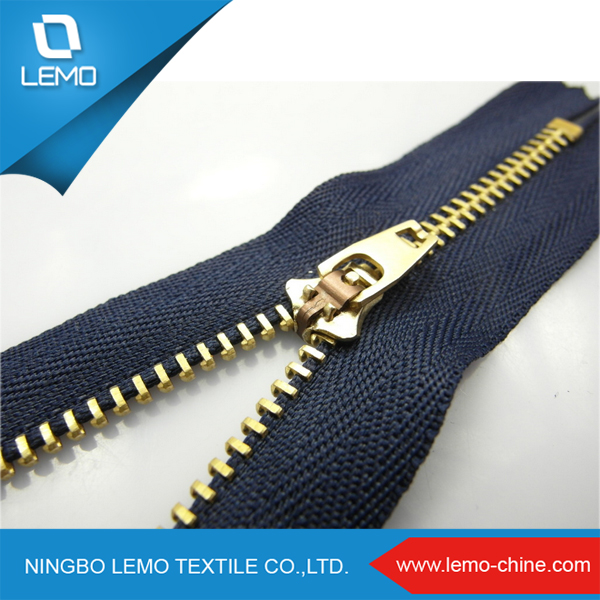 lemo Open End 4YG gold metal zipper