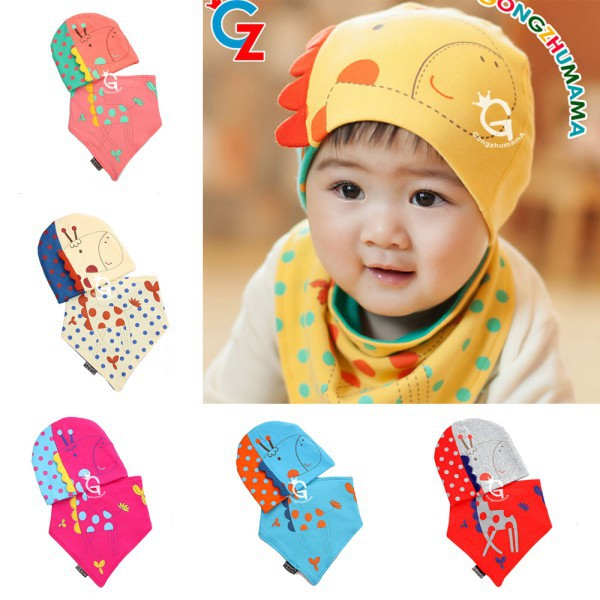2016 2Pcs Sets Spring Winter Baby Boys Girls Patchwork Pattern Soft Cotton Hedging Hat Cap Triangle