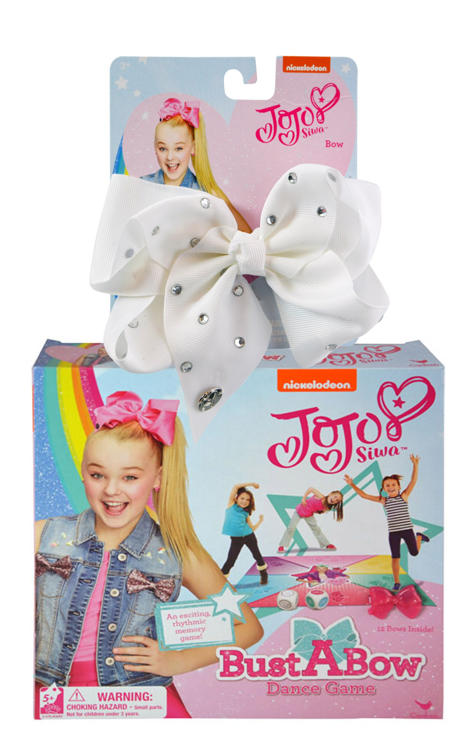 "JoJo Siwa ""Bust A Bow"" Dance Game & Signature White Hair Bow With Rhinestones Set"