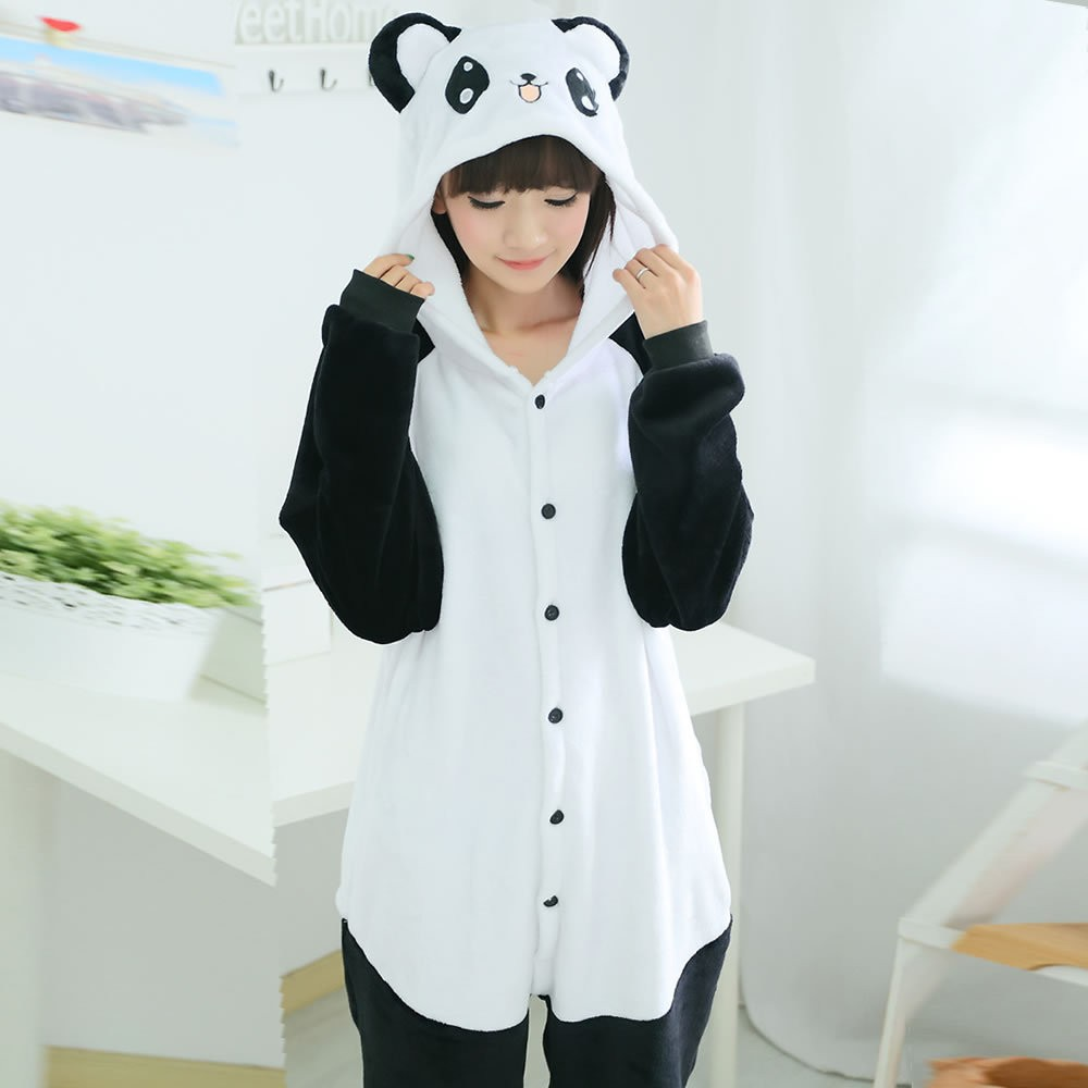 52138d03a7d0 2019 Wholesale Top Quality Cartoon New Flannel Pajamas Panda Pajama ...