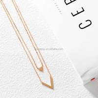 Custom Gold Stainless Steel Layered Double Necklace Women Cute Bare Pendant Necklace