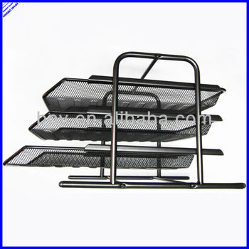 3 Layer A4 Size Black Say Office Paper Trays Metal Mesh File Tray Stationery